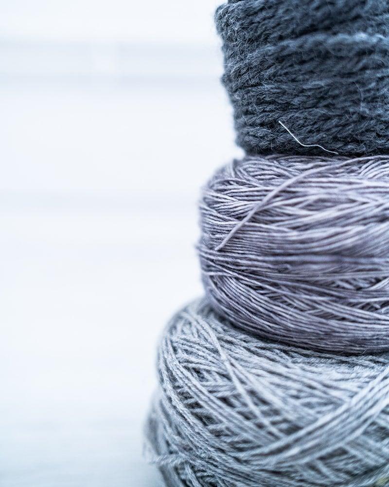 grey yarn in yarn stash