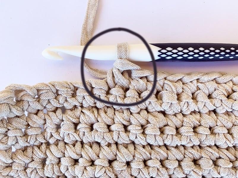close up of a single crochet decrease