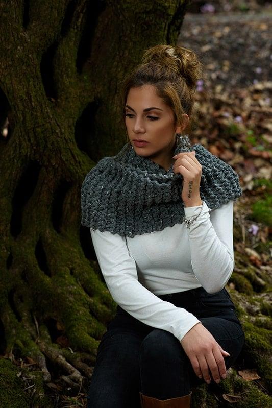 garter stitch knitted scarf