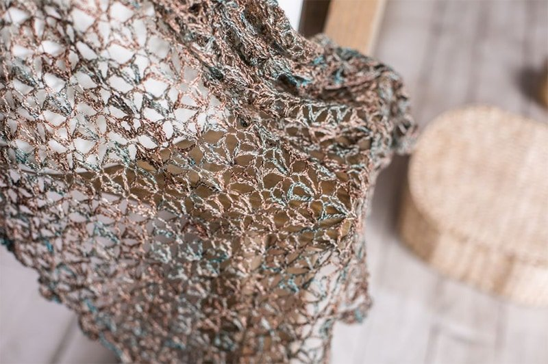 knitted shawl made with lace weight yarn