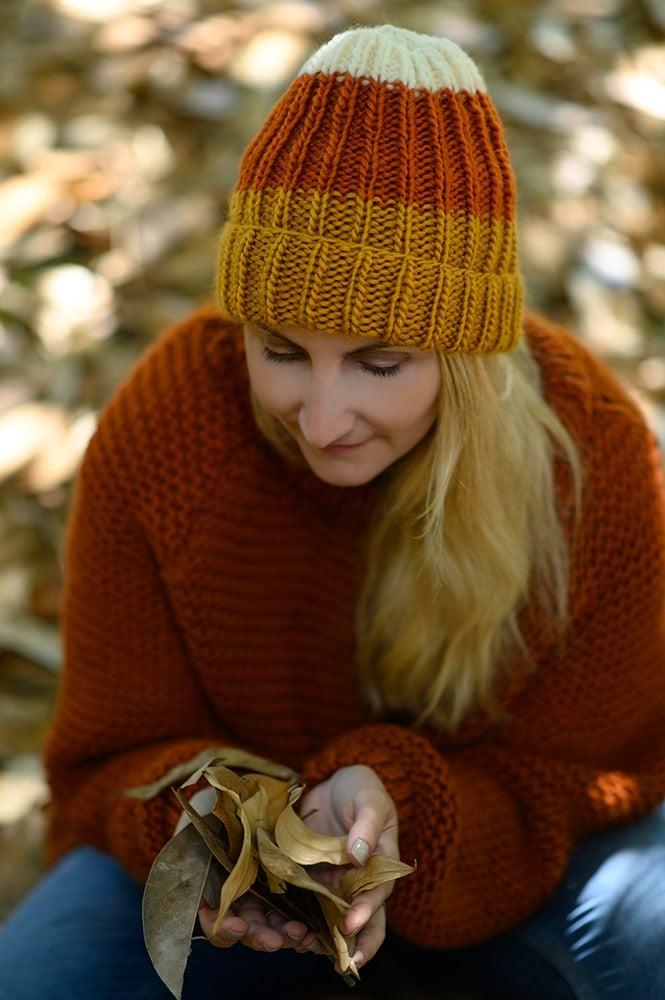knit hat candy corn colors