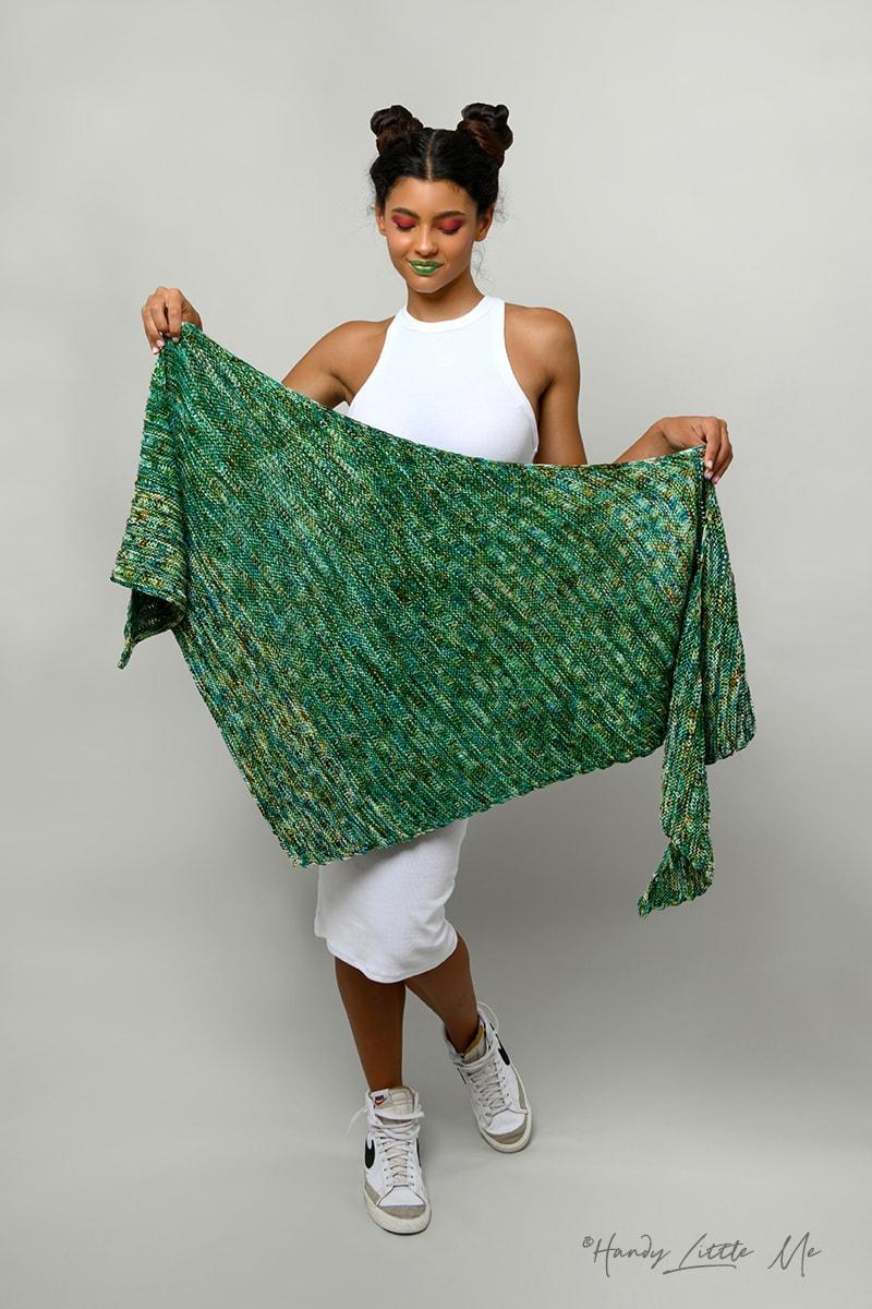 knitted asymmetrical shawl