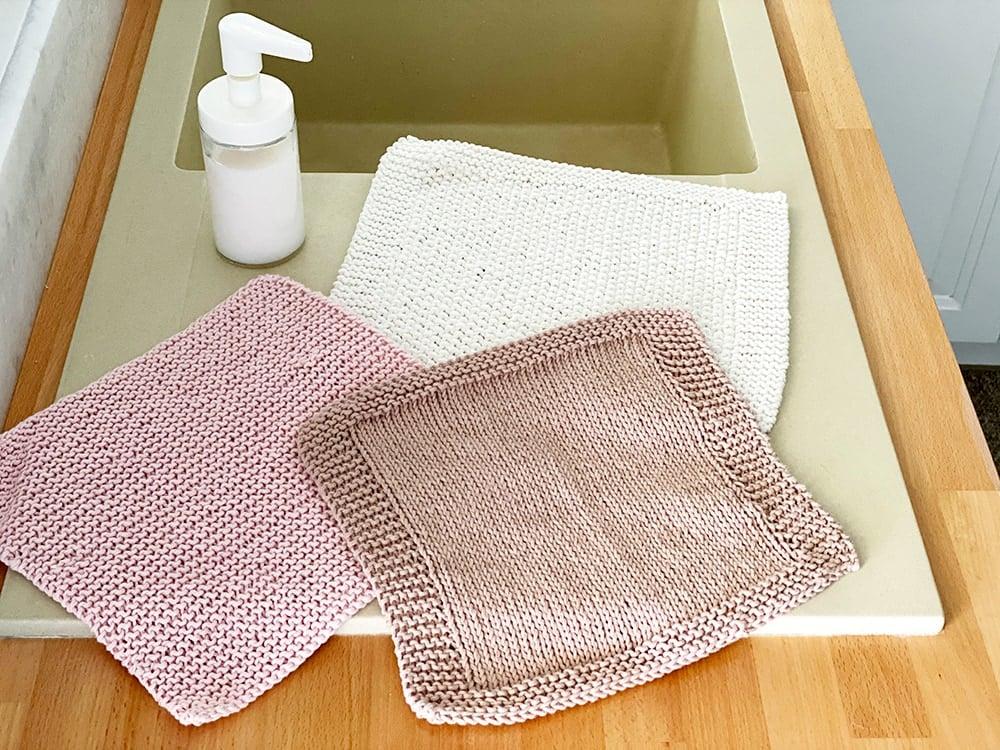 knitted dishcloth set