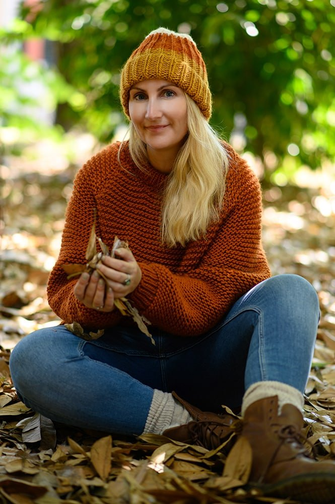 knitted fall hat and sweater