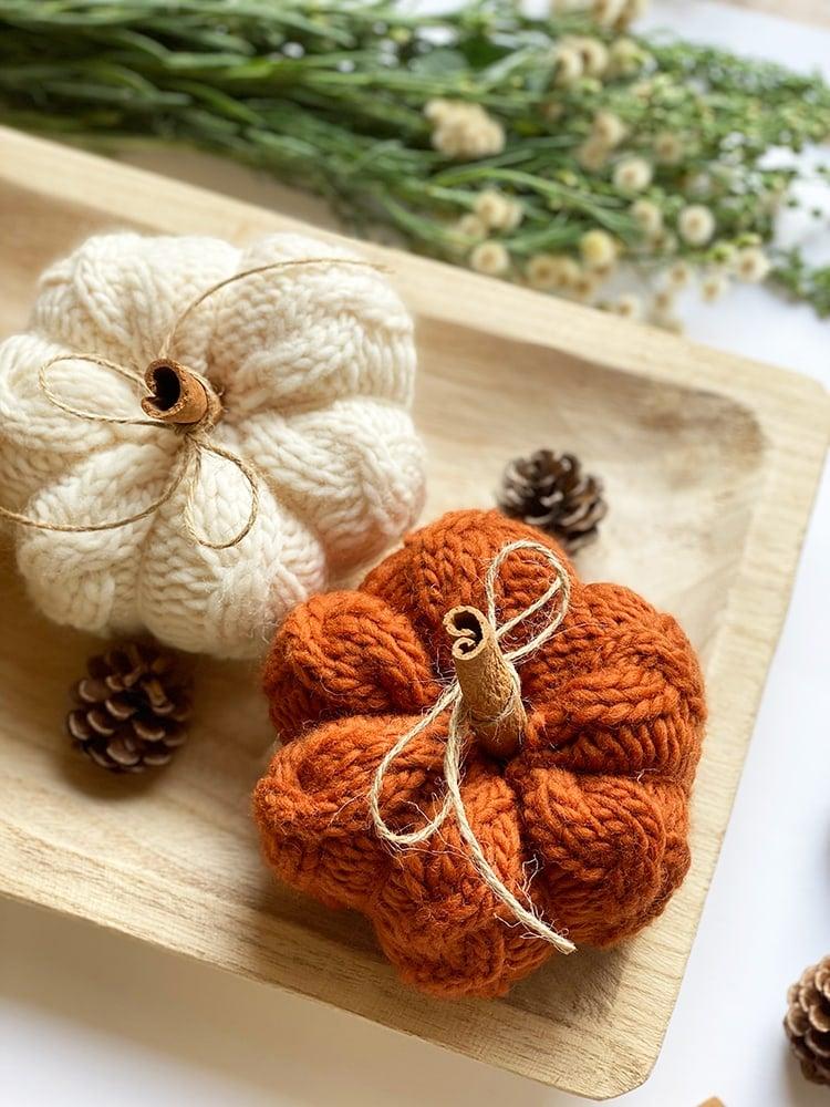 knitted pumpkin decor