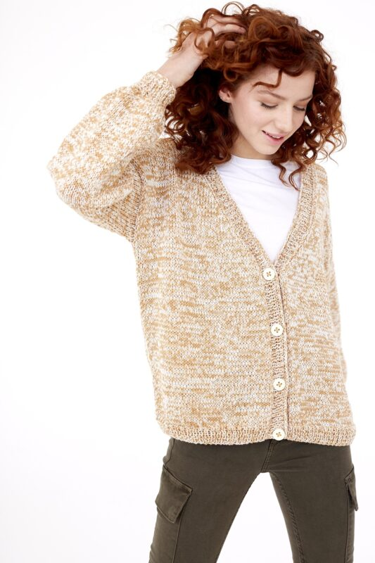 slouchy knit cardigan made with fine weight yarn