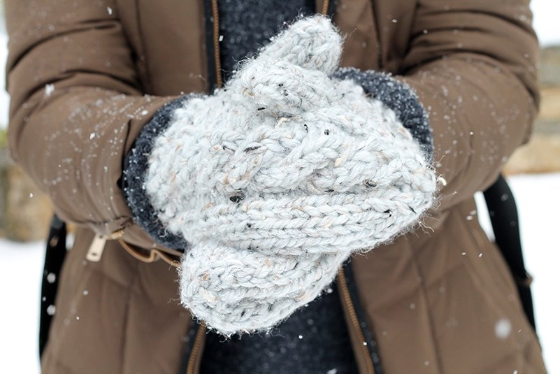 cable knit mittens in lion brand wool ease thick and quick yarn