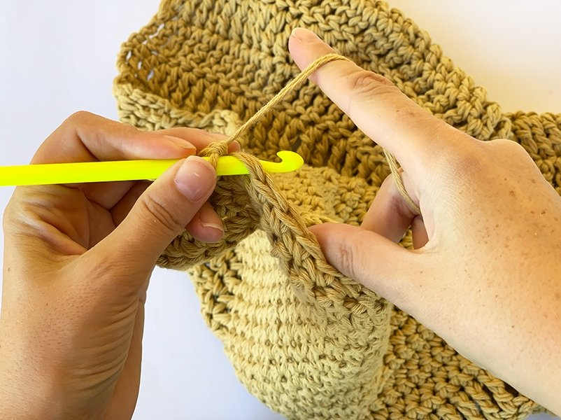 holding the crochet hook like a pencil in the left hand