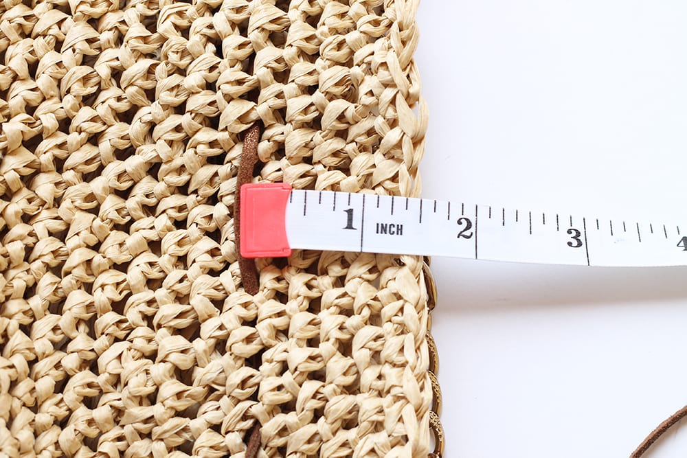 measurement of the drawstring cord for the raffia bag