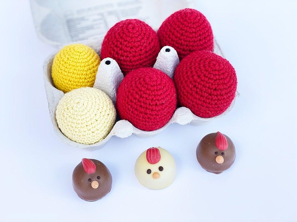 red crochet easter eggs