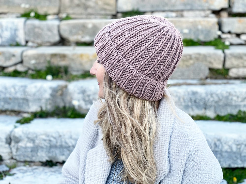 ribbed beanie knit with bulky weight yarn