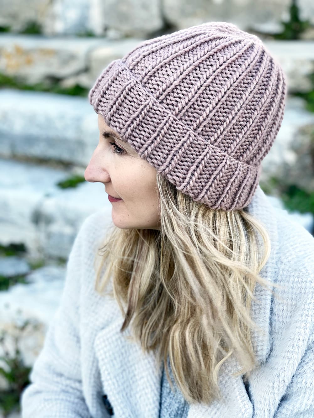 knitted ribbed hat in the petite wool