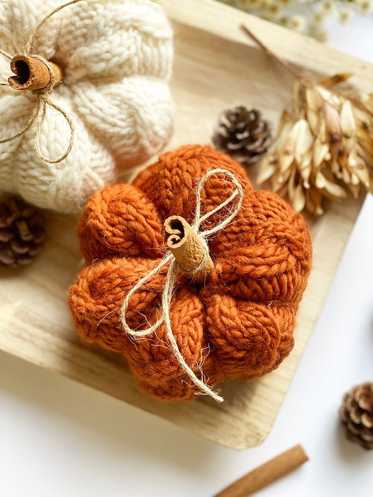 rust color knit pumpkin