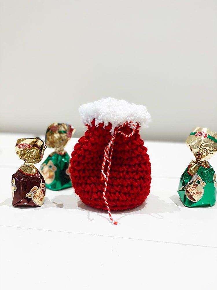 Small Santa sack drawstring gift bag