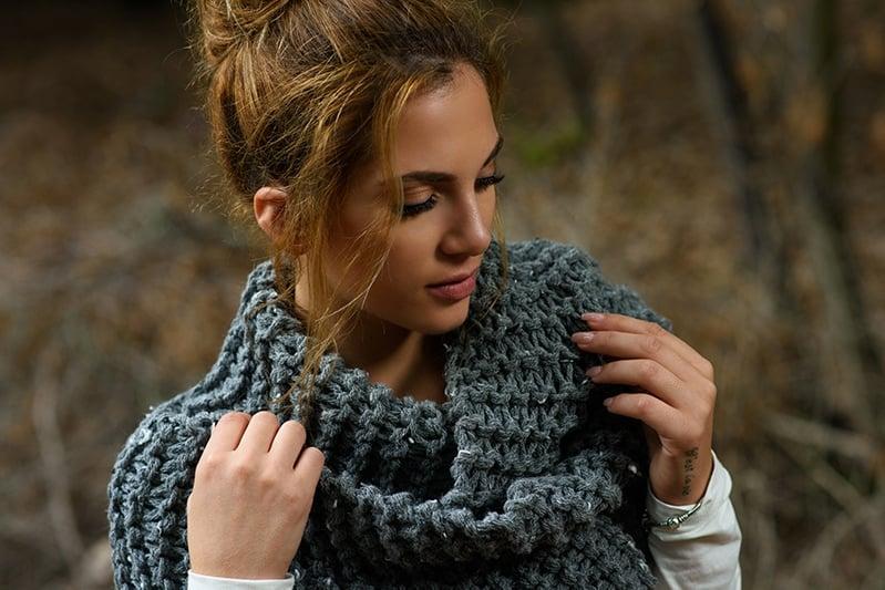 huge knitted scarf in garter stitch
