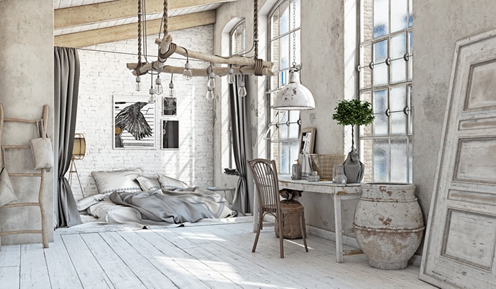 white shabby chic interior with wood and bare brick walls