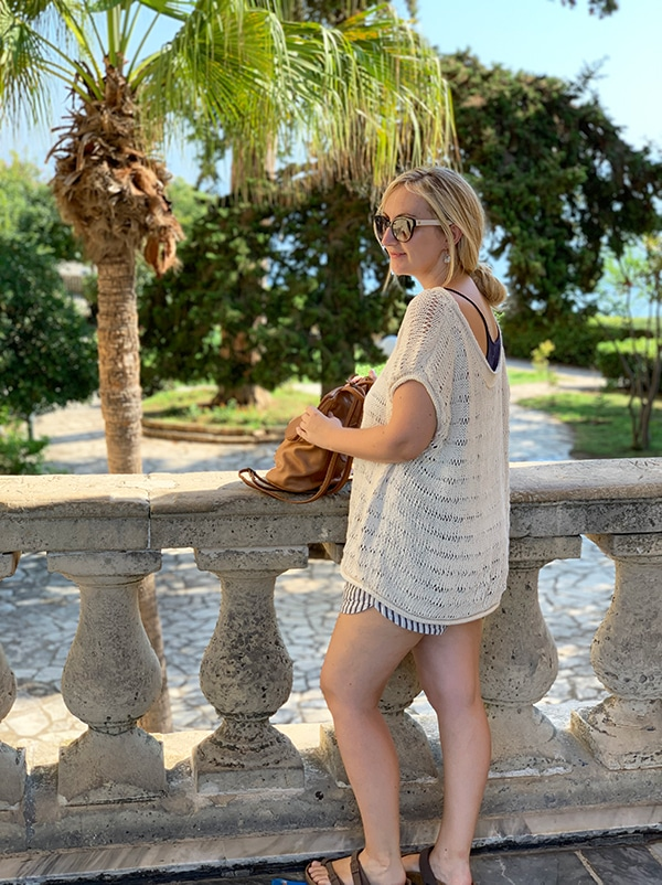 oversized knitted top in cotton