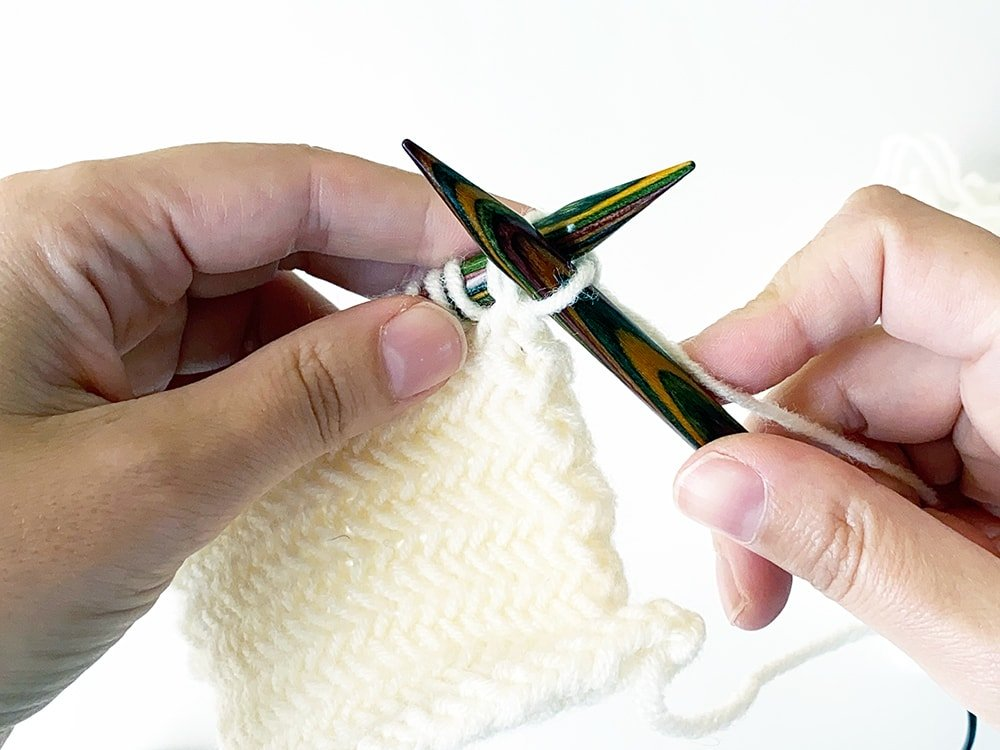 Herringbone stitch pattern step 2