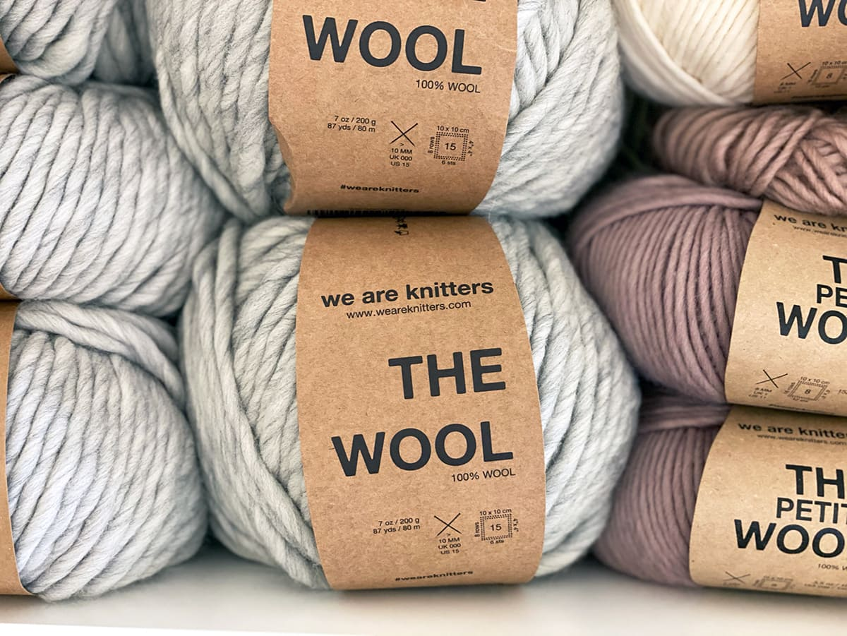 the wool in grey from we are knitters