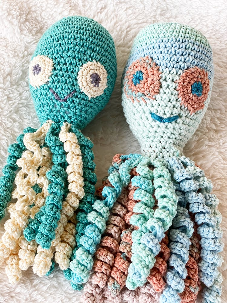 two crochet octopus