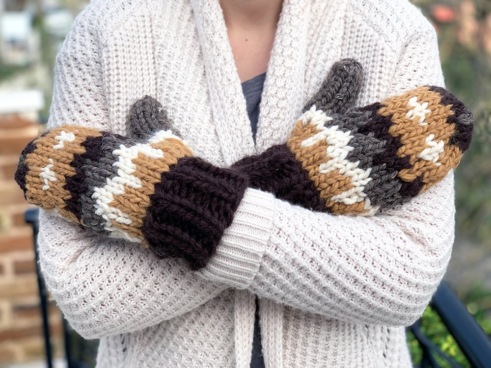 Bernie knitted mittens in four colours