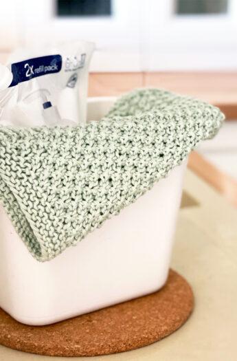 Irish Moss Stitch Dishcloth Knitting Pattern