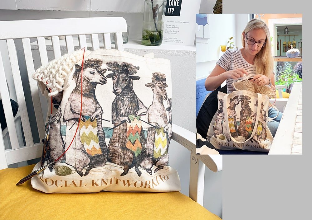 Artiphany social knitworking canvas knitting bag